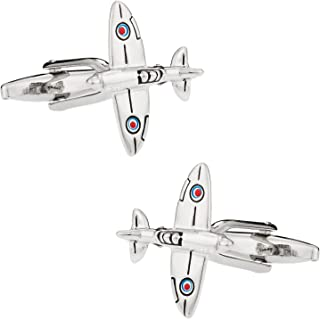 Spitfire Plane Airplane Aviation Cufflinks with Presentation Box Gift Idea for Man