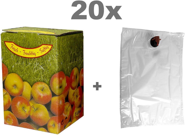 Fischer Kellereitechnik Bag Bag Bag in Box Set 10L 20x Beutel und 20x Kartons Apfelmotiv B0734Q56LP      Hohe Qualität Und Geringen Overhead  711bd3