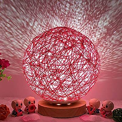 Gotian 3D USB Charging LED Rattan Moon Night Light Moonlight Unique Design Romantic Table Desk Bedside Lamp Colorful Energy Saving Table Desk Moon Lamp for Home Party Shopping Mall Restaurants