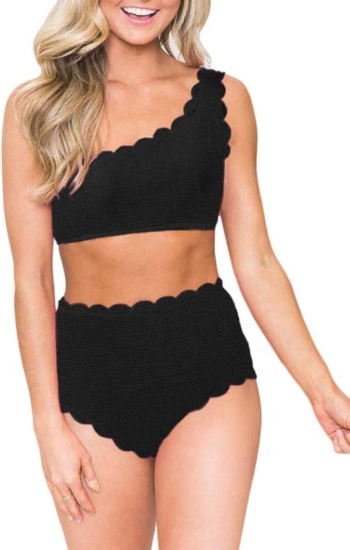 Zecilbo Women's Two Piece Scalloped Trim Bikini Sets One Shoulder High Waist Swimsuit