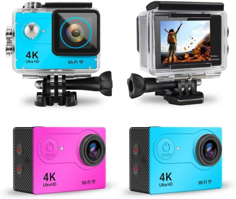 Yellow Multi-Color Selectable 4K Sports Camera Sports Dv WiFi Control Waterproof Depth 30m 12MP 170 Degree Wide Angle Include 32G Class10 Memory Card for Diving Outdoor Waterproof Mini Dive Machine