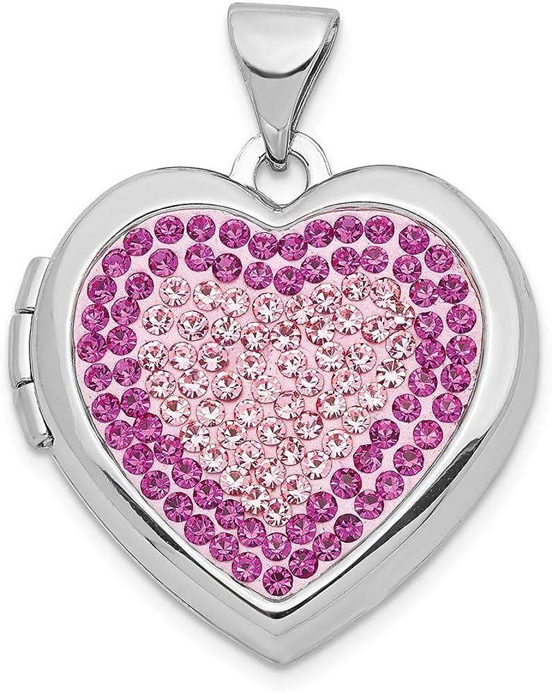 925 Sterling Silver 18mm Preciosa Pendant Heart Crystal Omaha Mall Ch Photo shopping