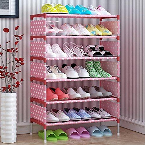 Verlike Schuhregal, 7 Ebenen, mit dickem Vliesstoff, Schuhschrank, Heimdekoration, Pink Dot-b, 97.5cm x 57.5cm x 26cm