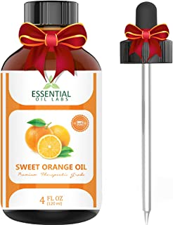 Sweet Orange Essential Oil – 100% Pure and Natural 4 Oz. with Glass Dropper - Therapeutic Grade - Uplift Your Mood - Wonderful Citrus Scent by Essential Oil Labs