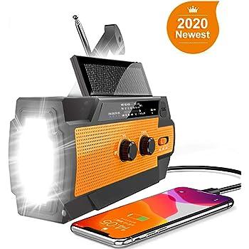 【2020 Newest Version】 Emergency Hand Crank Radio Flashlight Solar Radio Portable 4000mAh Power Bank AM/FM/NOAA Weather Radio with Super Bright Flashlight&Motion Sensor Reading Lamp, Phone Charger