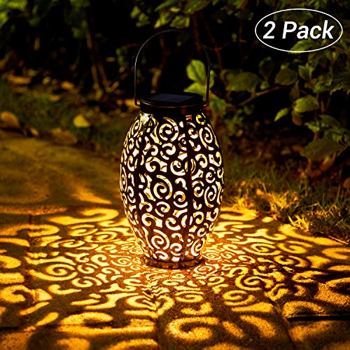 OxyLED Solar Lantern, LED Solar Garden Lights Outdoor, 2 Pack Hanging Lanterns Solar Powered with Handle Waterproof, Decorative Retro Metal Solar Lights for Table Patio Yard Pathway Walkway Driveway