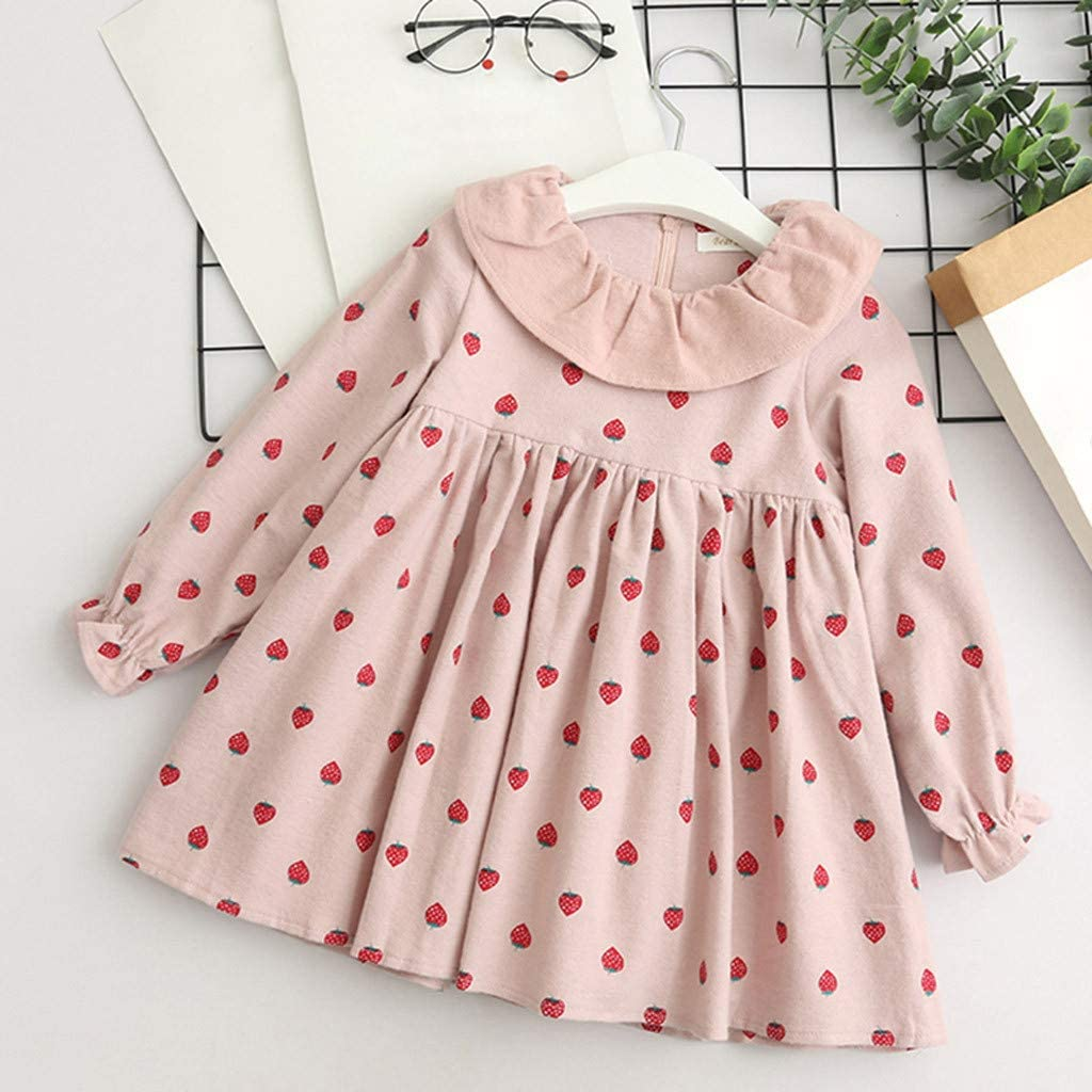 Teen Baby Girls Dress Strawberry Print Long Sleeve Loose Dresses 2-7 Years Old Little Princess One-Piece Skirt Costume