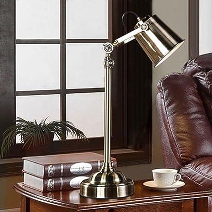 YJH+ 研究机ランプ寝室ベッドサイドレトロ豪華なランプリビングルームオフィスLed照明 美しく寛大な ( 色 : シルバー しるば゜ )