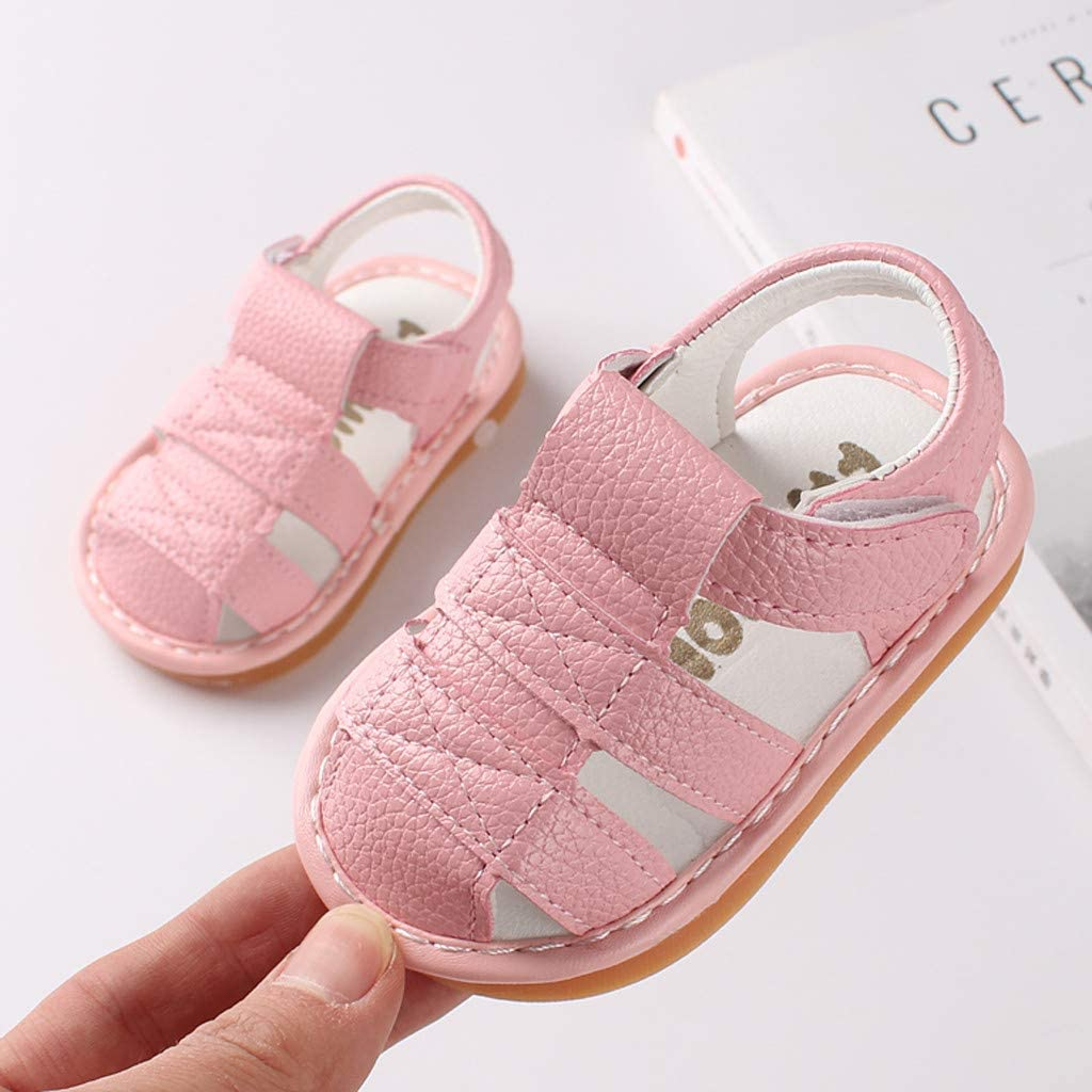 Baby Girls Boys Sandals Toddler Kids Newborn Summer Cute Closed-Toe Sandal for 0-18 Months Rubber Sole Crib Shoes