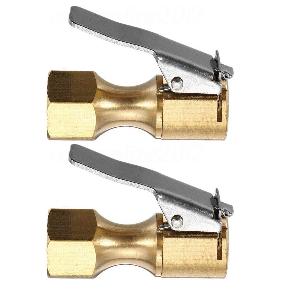 WINOMO 2pcs Tire Chucks Open Flow Straight Lock-On Air Chuck with Clip for Tire Inflator