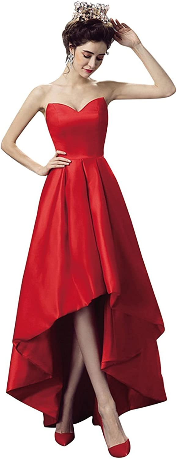 High Low Homecoming Dresses Long Sweetheart Satin ALine Evening Prom Party Gown