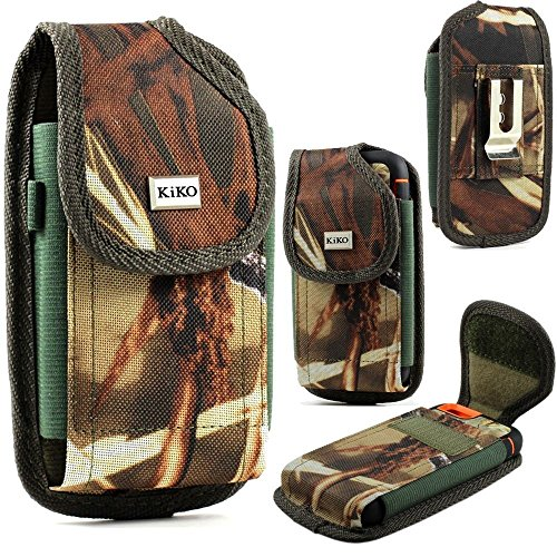 XXL Size Motorola Droid Turbo 2 / Droid MAXX 2 Camouflage Rugged Heavy Duty Vertical Holster Pouch with Belt Clip Case Cover (Fits Otter Box Defender/LIFEPROOF/Mophie Juice Pack Air/Plus Case On)
