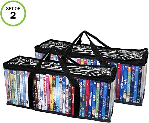 TV & Media Furniture ✅Evelots DVD-Blu Ray-Video-Storage Bag-Clear-Handle-Hold 80 Total-Zebra Top-Set/2