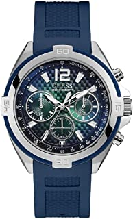 GUESS Mens Quartz Watch, Analog Display and Silicone Strap - W1168G1