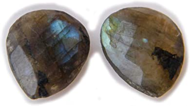 Thebestjewellery Faceted Labradorite cabochon Pair, 15Ct Natural Gemstone, Pear Shape Cabochon Pair for Jewelry Making (15.5x12x4mm) SKU-8986