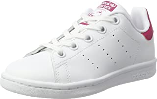adidas, Girls Stan Smith Shoe, White/Bold Pink, 2 US Big Kid (8 - 12yrs)