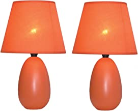 Simple Designs Home LT2009-ORG-2PK Simple Designs Mini Oval Egg Ceramic Table Lamp 2 Pack Set,Orange, 9.45