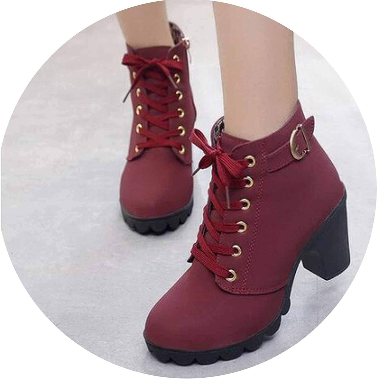 Autumn Winter Women Boots Solid Lace-up European Ladies shoes PU Fashion high Heels Boots