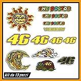 Kit Adesivi Stickers Compatibile con motorino Casco Moto Motocicletta The Doctor 46 Logo Pannello Intero 13 pezzi