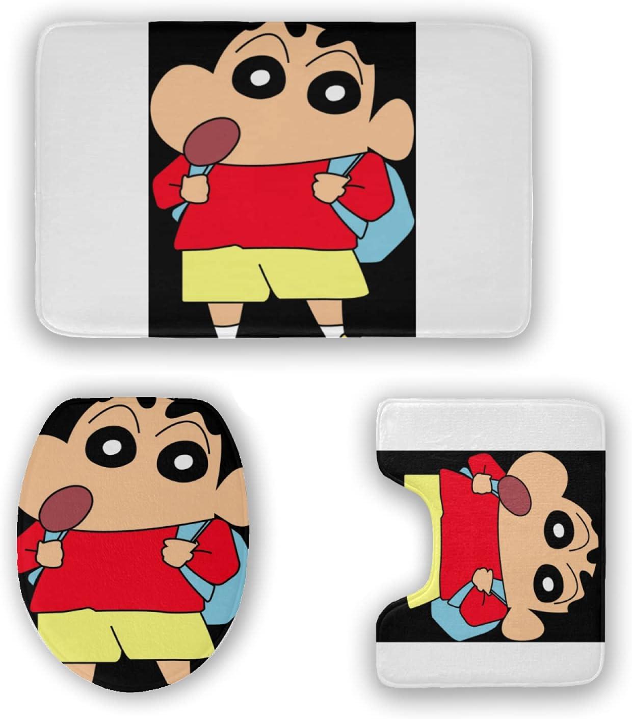 Crayon Shin-chan Bath Mat 3 Piece Rugs Soft B Product Pads Set Mail order cheap Anti-Skid
