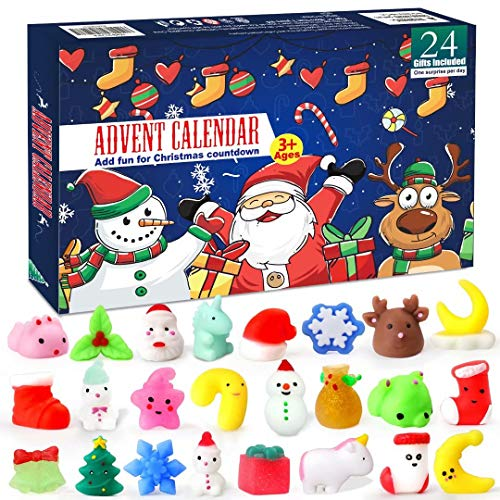 EZIGO 2020 Advent Calendar for Kids and Adults Christmas Countdown Calendar for Girls Boys Kids 24Pcs Christmas Animals Mochi Squishies Toy Party Favor Xmas Gifts