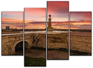 4 Panels Canvas Wall Art, Belgrade Kalemegdan Sunset The Victor Monument Painting Pictures Print On Canvas Ready to Hang for Home Decoration