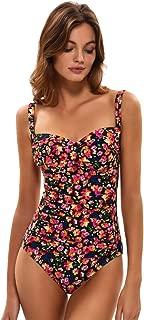 Women's Padded Push One Piece Swimsuits Ruched Front Tummy Control Bathing Suits Coastal V-Neck Swimwear