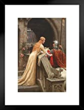 Edmund Leighton God Speed 1900 Oil On Canvas Painting Knight War Poster - 12x18 Art Print Framed Matted in Black Wood 20x2...