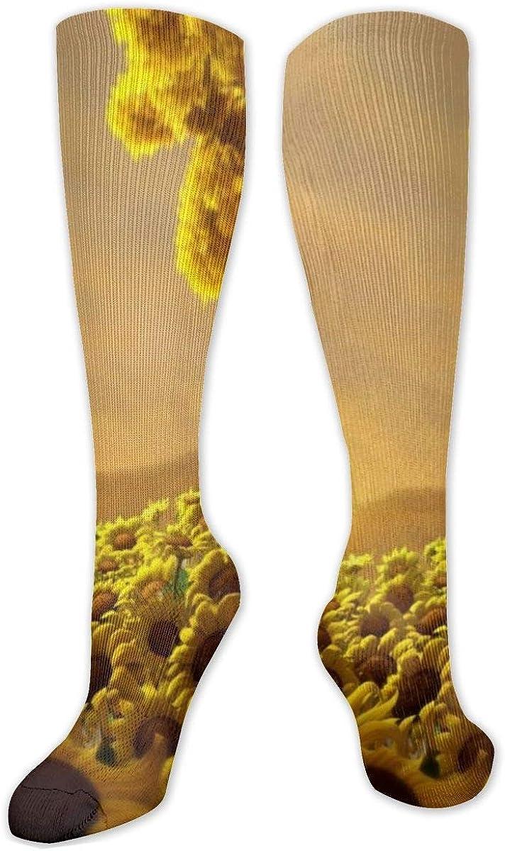 Summer Sunflower Knee High Socks Leg Warmer Dresses Long Boot Stockings For Womens Cosplay Daily Wear