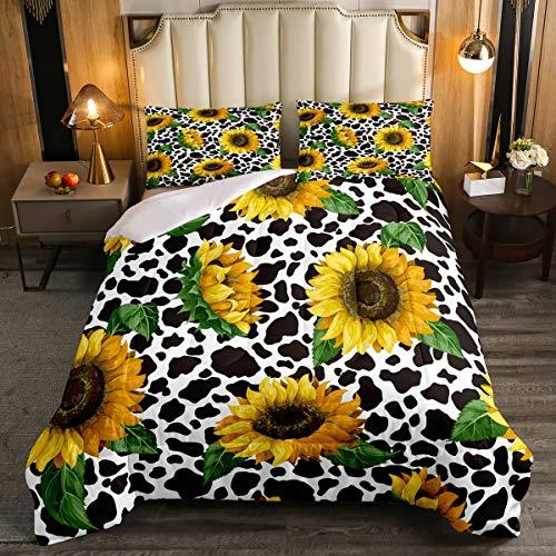 Sunflower Floral ComforterSet Cow Bedding Set, Black White Abstract Milk Cow DuvetInsert Fashion DownComforter, Home Decorations 3 Pcs Bedding Set (1 QuiltedDuvet 2 Pillow Shams) Queen