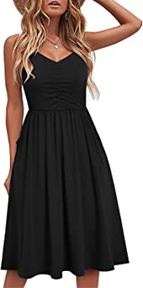 YATHON Casual Dresses for Women Sleeveless Cotton Summer Beach Dress A Line Spaghetti Strap Sundresses with Pockets