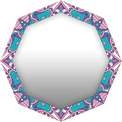 999Store Printed Pink Floral Pattern Octagon Mirror (MDF_17X17 Inch_Multi)