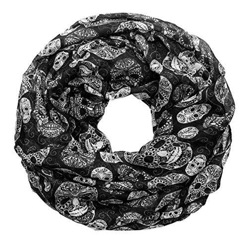 Soul Cats Loop bufanda Calaveras Skulls cráneo negro Pañuelo Toalla–Punk Metal Gótico