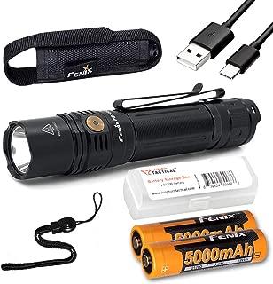 Fenix PD36R 1600 Lumen Type-C USB Rechargeable EDC Tactical Flashlight with 2X Fenix Batteries and LumenTac Battery Organizer