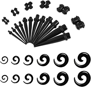 UJStyle 36 Pieces Ear Stretching Kit Acrylic Gauge Kit Spiral Tapers and Plugs Ear Gauges Expander Set