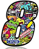 Biomar Labs® Adesivo Sticker Numero Racing 8 Gara DC Sticker Bomb Auto Moto Cross Rally Sport Tuning N 208