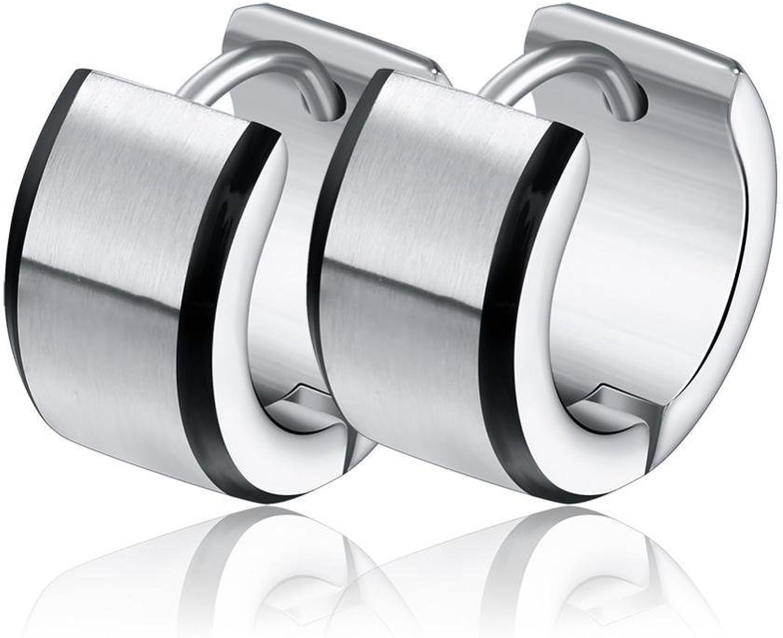 Weiwei Men's Earrings Men's Ear Nails Plated Black Side Matte Stainless Steel Ear Buckle Allergy Birthday Gift to Send Friends 13mm7mm