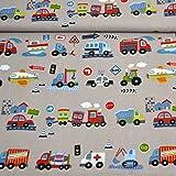 MAGAM-Stoffe Bunte Autos grau Baumwollstoff Kinderstoff