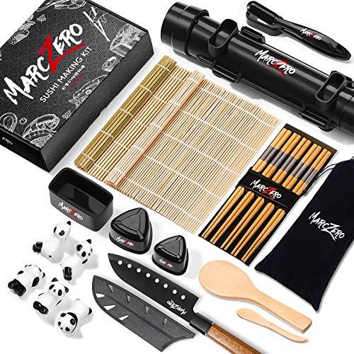 MarcZero Sushi Making Kit, 22 in 1 Sushi Bazooka Roller Kit With Bamboo Mat, Sushi Knife, Bamboo Chopsticks, Bazooka Roller, Sushi Molds, Bamboo Paddle Spreader, DIY Sushi Roller Machine for Beginner