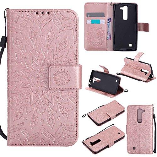pinlu® PU Leder Tasche Etui Schutzhülle für LG G4c(5zoll)/LG Magna Lederhülle Schale Flip Cover Tasche mit Standfunktion Sonnenblume Muster Hülle (Roségold)