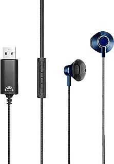 okcsc U200 ヘッドセット USB マイク付きイヤホン 有線 音量調節 全指向性 テレワーク Zoom用 web会議用 在宅勤務 ボイスチャット PC 対応 マイク付き 約1.2m ブルー