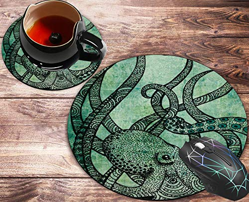 Round Mouse Pad and Coasters Set, Gorgeous Cool Octopus Color Mousepad, Anti Slip Rubber Round Mousepads Desktop Notebook Mouse Mat for Working and Gaming