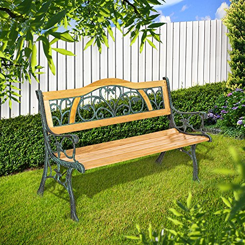 TecTake Gartenbank – Gesamtgewicht: ca. 24,5 kg – Parkbank Sitzbank Gartenmöbel Holzbank Bank Gusseisen Metall Holz wetterfest Rückenlehne aus Holz und massivem Gusseisen - 2