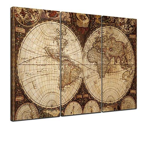 Wandbild - Weltkarte Vintage - Bild auf Leinwand - 150x90 cm 3tlg - Leinwandbilder - Urban & Graphic - Erde - historische Darstellung