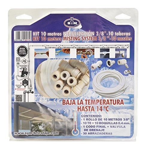 """S&M 580758 Kit de nebulización 3/8"""" de 10 metros-10 Toberas-Baja hasta 14°C la Temperatura, Beige, 8 x 28 x 28 cm"""