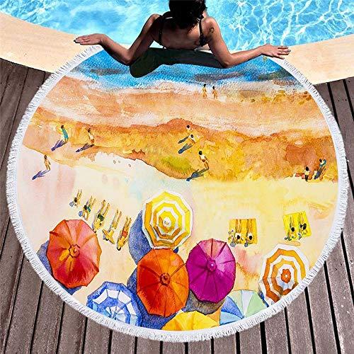 Anjaco Impresión Digital 3D Buena Pinta De Playa Toalla De Microfibra Borla Redonda Estera De Playa Estera De Yoga Mantón 150 * 150 Cm