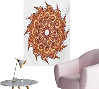 Anzhutwelve Henna Photo Wall Paper Eastern Civilization Inspired Floral Tattoo Design Mehndi Motif IllustrationMustard Dark Orange W20 xL28 Funny Poster