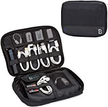 BGTREND Electronic Organizer, Small Travel Cable Bag Compatible with Power Bank, Adapter, USB Charger, SD Card, Black