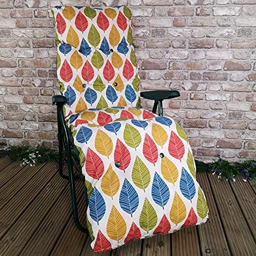Samuel ALEXANDER Padded Outdoor Garden Patio Recliner/Sun Lounger - Palma Leaf