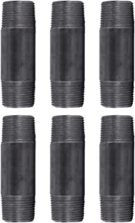 """Pipe Decor 1"""" x 4"""" Malleable Cast Iron Pipe, Pre Cut Connector, Industrial Steel Grey Fits Standard One Inch Black Threaded Pipes Nipples and Fittings, Build Vintage DIY Furniture, Four Inches, 6 Pack"""